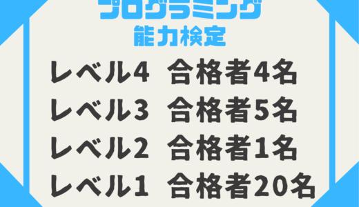 【お知らせ】第2回プログラミング能力検定レベル4に4名が合格!